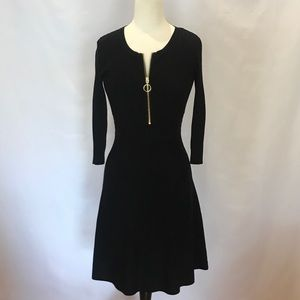 INC black Sweater Dress with Gold Zipper